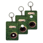 Lenticular foam key chain with custom design, golf putter hits ball into hole for par, animation