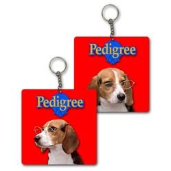Lenticular foam key chain with custom design, Pedigree dog with glasses, tilts head side to side, flip