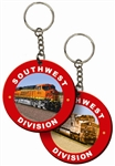 Lenticular foam keychain with custom design, Southwest Division train, flip