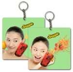 Lenticular foam keychain with custom design, Snapple young woman smiles and splashes cherry drink, flip