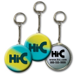 Lenticular key chain with yellow, blue, and green, color changing with