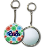 Lenticular key chain with red, blue, and green spinning wheels, white background, animation
