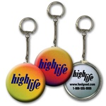 Lenticular key chain with red, yellow, blue, and green, color changing