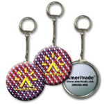 Lenticular key chain with American flag stars and stripes, red, white, and blue, color changing flip