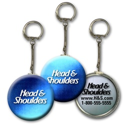 Lenticular key chain with dark blue and light blue, color changing