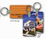 Lenticular key tag with real estate realtor hands sold keys to buyer of house, flip