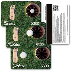 Lenticular gift card with putter hits golf ball into hole for birdie, animation