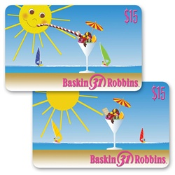 Lenticular gift card with summer sun sipping fruit sundae out of martini glass on beach, flip