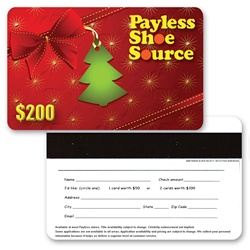 Lenticular gift card with christmas tree and velvet bow decorations, depth