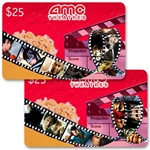 Lenticular gift card with custom design, AMC movie theatres film reel changes pictures, flip