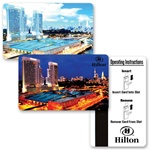 Lenticular access key card with Hilton Las Vegas casino switches images from day to night, flip