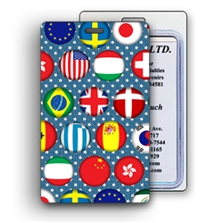 Lenticular Luggage Tag with international flags including Mexico, Canada, France, Switzerland and more, depth