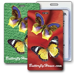 Lenticular luggage tag with large yellow butterflies, background switches from green to red, flip