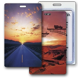 Lenticular luggage tag with serene open road in a desert changes to a bridge under construction in the sunset, flip