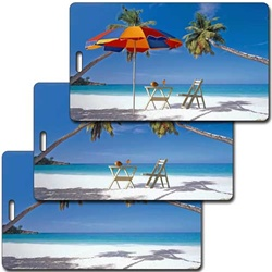 Lenticular luggage tag tropical Hawaiian beach Image