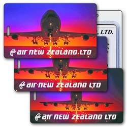 Lenticular luggage tag with jumbo jet airplane taking off in the sunset from an international airport, animation