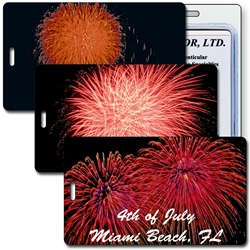 Lenticular luggage tag with red and orange fireworks going off on the Fourth of July, animation