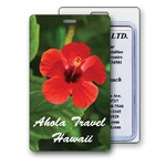 Lenticular luggage tag with large red tropical Hawaiian hibiscus flower Image