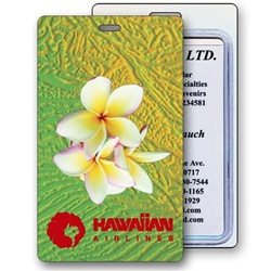 Lenticular luggage tag with large white tropical Hawaiian plumeria flower Image