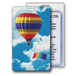 Lenticular luggage tag with rainbow striped hot air balloon and parachute in cloudy summer sky, depth