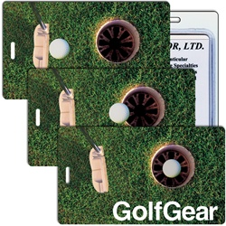 Lenticular luggage tag with PGA putter hits golf ball into hole, animation