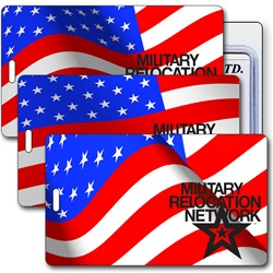 Lenticular luggage tag with USA American flag stars and stripes waving in the wind, animation