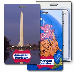 Lenticular luggage tag with design that flips between images of the Washington Monument and Map of North America.