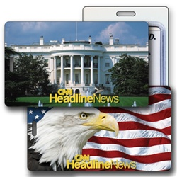 Lenticular luggage tag with White house & bald eagle design with flip effect.