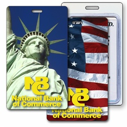 Lenticular luggage tag with Statue of Liberty and USA American flag, flip