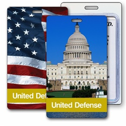 Lenticular luggage tag with Washington, DC capitol building, and USA American flag, flip