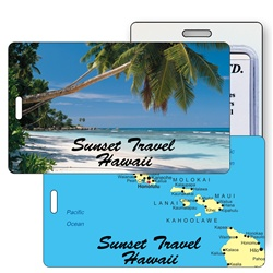 Lenticular luggage tag with tropical Hawaiian palm tree on white sand beach, map of islands, flip