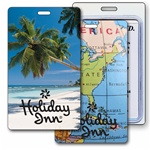 Lenticular luggage tag with tropical Florida palm tree Image
