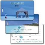 Lenticular luggage tag with relaxing cabana Prints