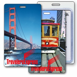 Lenticular luggage tag with San Francisco trolley cable car, Golden Gate Bridge, flip