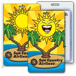 Lenticular luggage tag with tropical Hawaiian palm tree and cartoon faced Sun, flip
