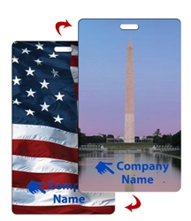Lenticular luggage tag with American Flag and Washington Monument Flip Effect