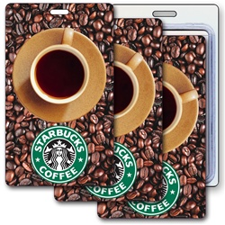 Lenticular luggage tag with Starbucks coffee cup spins around, animation