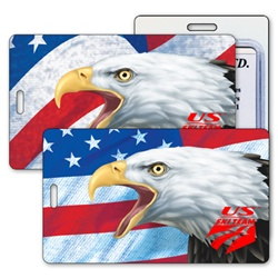 Lenticular luggage tag with bald eagles eyes appear alive in front of USA American flag, depth