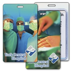 Lenticular luggage tag with three surgeons in hospital, surgery in progress with scalpel, flip