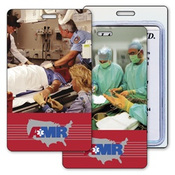 Lenticular luggage tag with group of surgeons and nurses in hospital, stand over operating table, flip