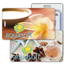 Lenticular luggage tag with tropical Hawaiian flowers, potpurri, salt, and sea stars, flip