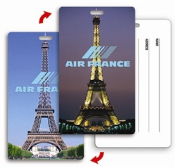 Lenticular Printed luggage tag with Eiffel Tower in Paris, France, Europe at day and night, flip
