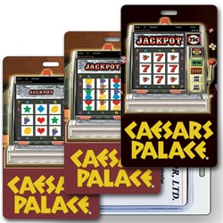 Lenticular luggage tag with Las Vegas casino slot machine spins reels for a jackpot, animation