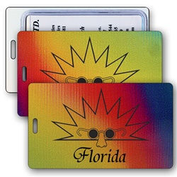 Lenticular luggage tag with red, yellow, and blue, color changing