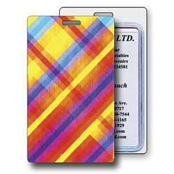 Lenticular luggage tag with colorful rainbow plaid pattern, color changing