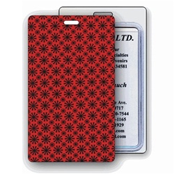 Lenticular luggage tag with red spinning wheels on white background, animation