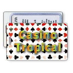 Lenticular luggage tag with Las Vegas casino playing cards with clubs, spades, diamonds, and hearts, color changing flip