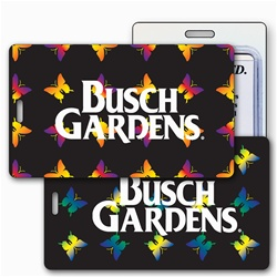 Lenticular luggage tag with yellow, red, and green butterflies on a black background, color changing flip