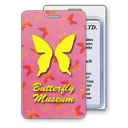Lenticular luggage tag with yellow, red, and green butterflies on a pink background, color changing flip