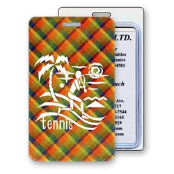 Lenticular luggage tag with vibrant colorful plaid pattern, color changing